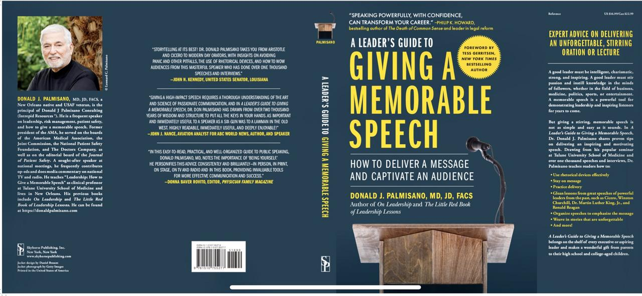 Photo of final book jacket a leader's guide to giving a memorable speech img 6412