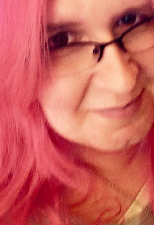 Pink haired author photo