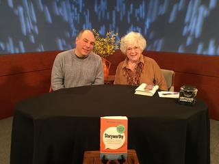 Matthew Dicks, author of Storyworthy, on the set of Page 1 with host and producer Zita Christian