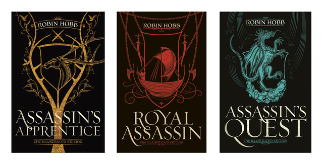 The covers of the hardback illustrated editions of The Farseer Trilogy.  Assassin's Fate features a stylized buck in gold, Royal Assassin has a red ship, and Assassin's Quest has a blue dragon.