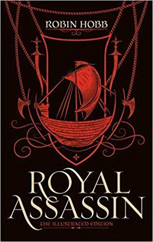 A red sailing ship on a black backdrop above the title Royal Assassin