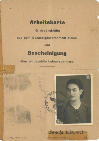 My mother's work card as a slave laborer in Germany. Note her alias below the photo.