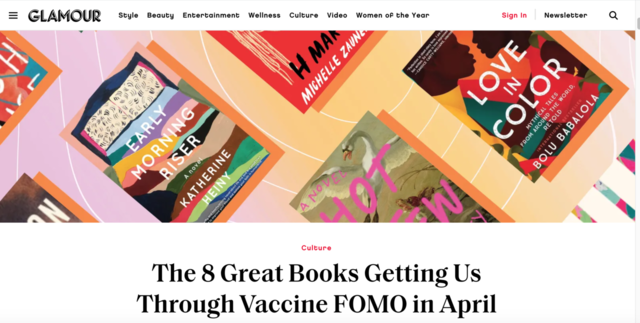Glamour Magazine: The 8 Great Books Getting Us Through Vaccine FOMO in April