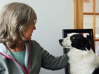 An image of author Robin Hobb, looking into the disappointed face of a black and white dog.