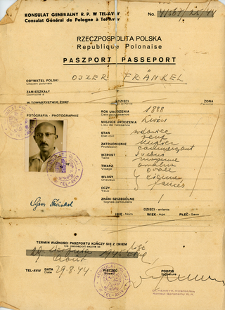 My grandfather, Ojzer Fränkel. He arrived in Palestine without papers because they were on a ship that sank. This is the passport he acquired in August 1944 from the Polish Consulat in Palestine.