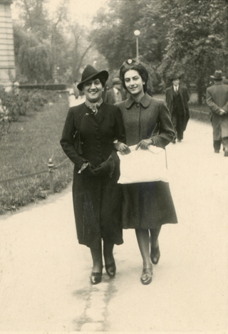 My mother, Irena Goldberger, walking with her her mother, Teofila, to the dressmaker, May 1939. This is the last photo taken of them before WWII.