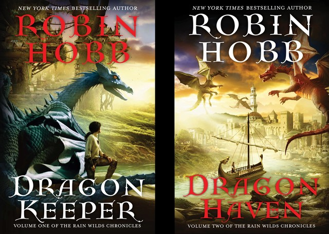 Original US cover art for Dragon Keeper and Dragon Haven. Image on left is blue dragon with a girl standing beside it.  Image on right is a ship approaching a city with dragons overhead.