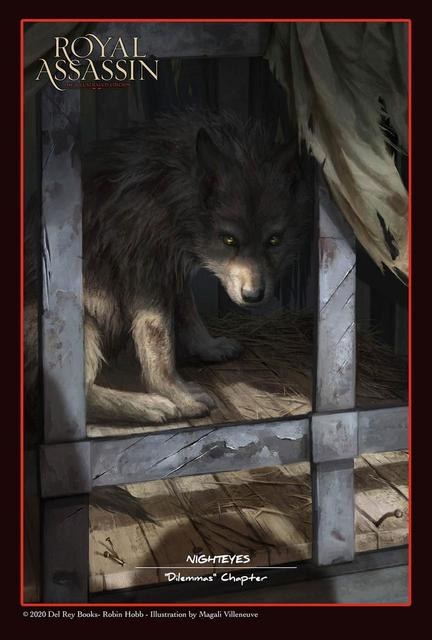 Here we see Nighteyes the wolf as a caged and abused cub, as Fitz first met him
