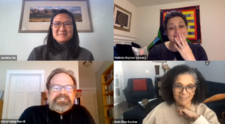 "A screenshot of the virtual ""Cultural Postmortem 2020"" event featuring Jennifer Ho moderating conversations with Ruth Ellen Kocher, Malinda Maynor Lowery, and Christopher Merrill."