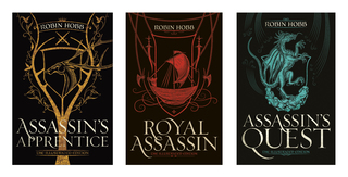 The three covers for the Illustrated Editions of the Farseer Trilogy
