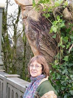 a tree carved with a pirate face is above Megan Lindholm standing on a bridge.