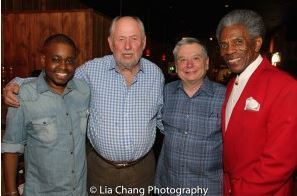 Opening night Cast Party for Confessions of a P.I.M.P. From left to Right: Samuel G. Roberson, Dennis Zacek, Charles Grippo, Andre De Shields. (Photo by Lia Chang)