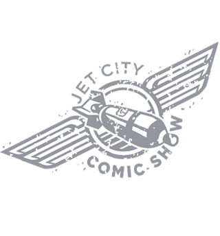 Logo for Jet City Comic show.  A rocket.