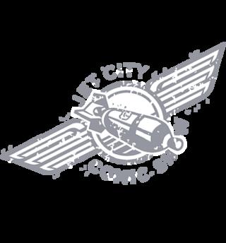 Logo for Jet City Comic show.  A rocket.