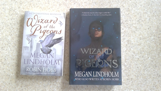 Two covers for the novel Wizard of the Pigeons.  On the left, the UK cover with a pigeon taking flight over Seattle. On the right, the US cover with an image of Wizard by Tommy Arnold.